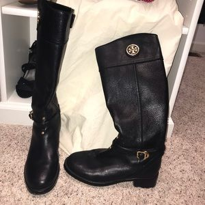 Tory Burch Black Riding Boots with dust bag